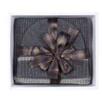 Barbour Cromer Beanie & Scarf Set - Grey -  MAC0337GY111